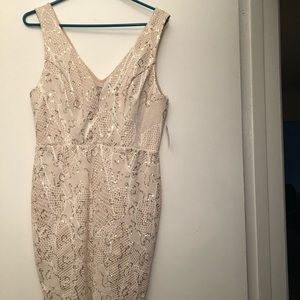 Sparkling Cream Form Fitting Dress